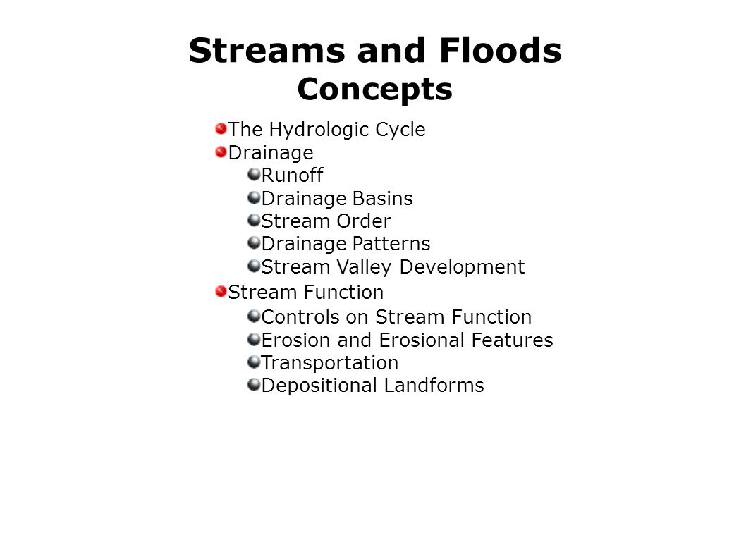 Streams and Floods Concepts