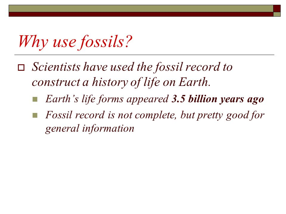Why use fossils Scientists have used the fossil record to construct a history of life on Earth. Earth's life forms appeared 3.5 billion years ago.