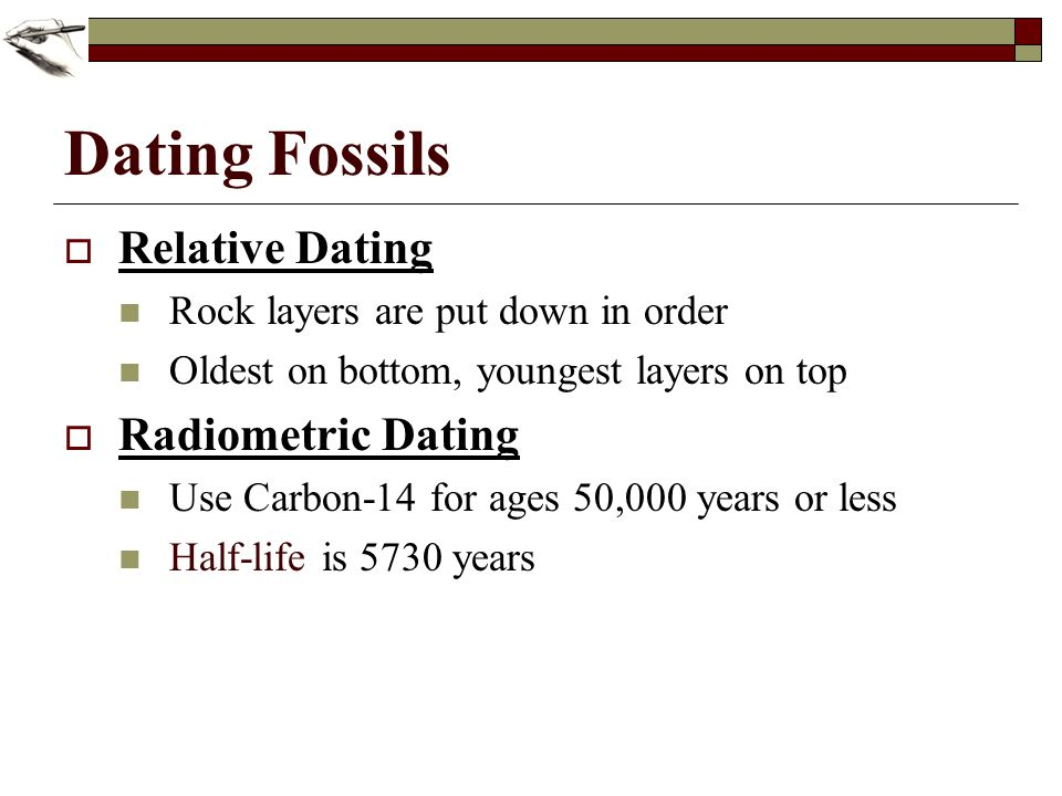 Relative dating uses quizlet