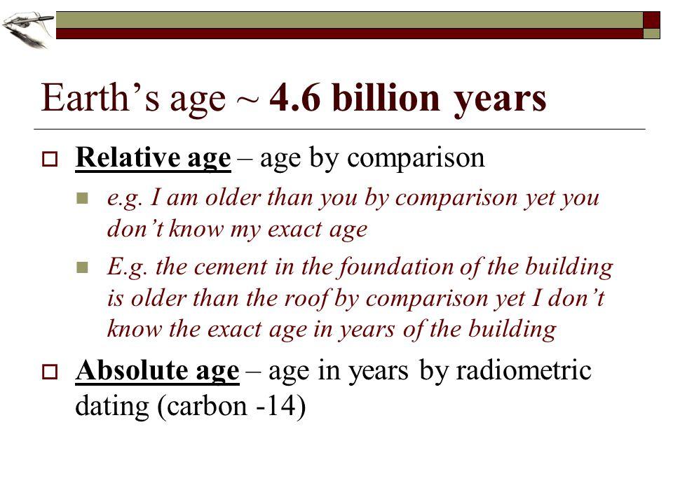 Earth's age ~ 4.6 billion years