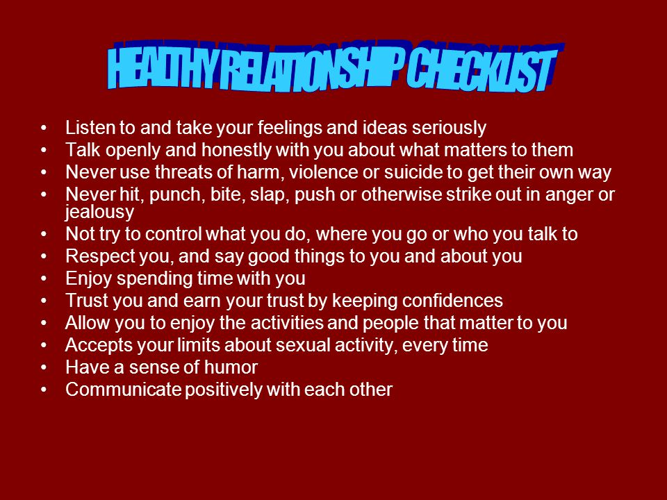 HEALTHY RELATIONSHIP CHECKLIST