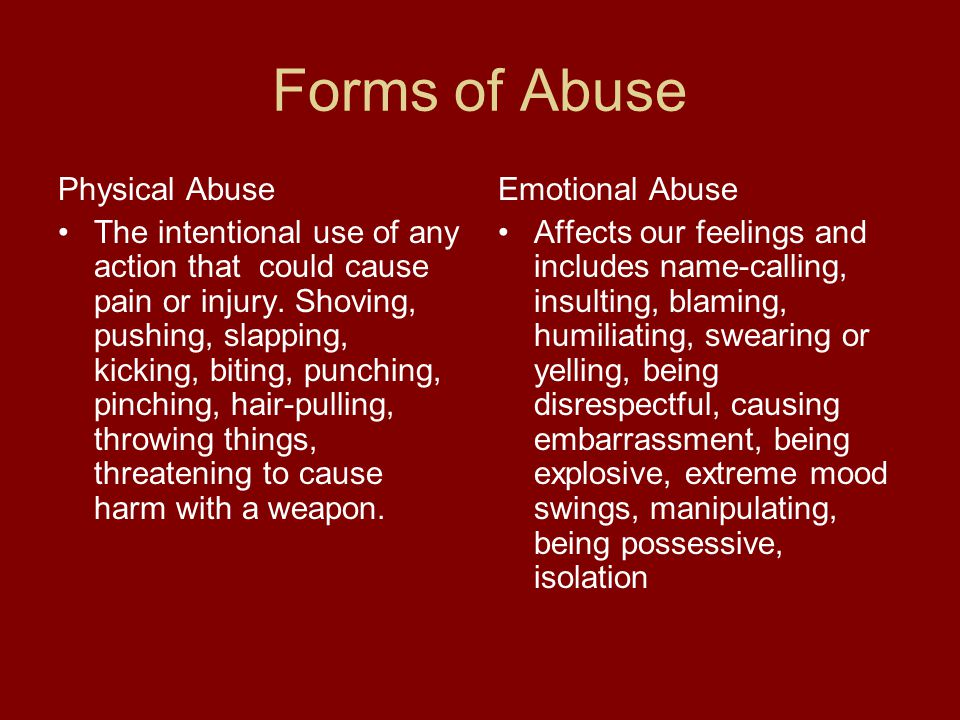 Forms of Abuse Physical Abuse