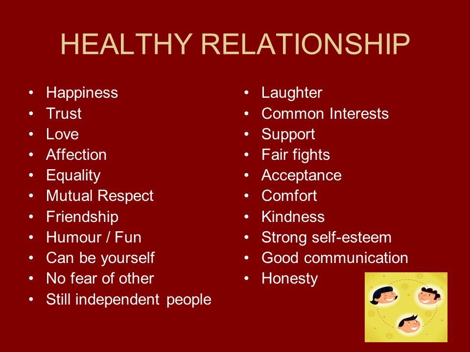 HEALTHY RELATIONSHIP Happiness Trust Love Affection Equality