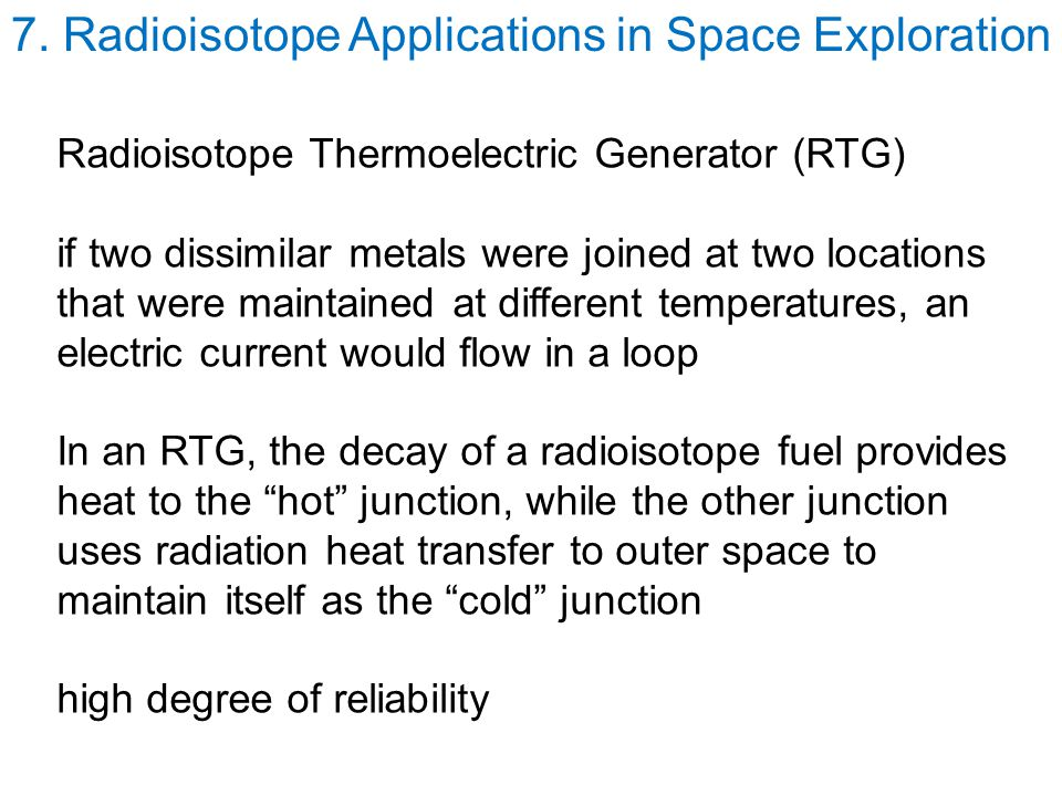 7. Radioisotope Applications in Space Exploration