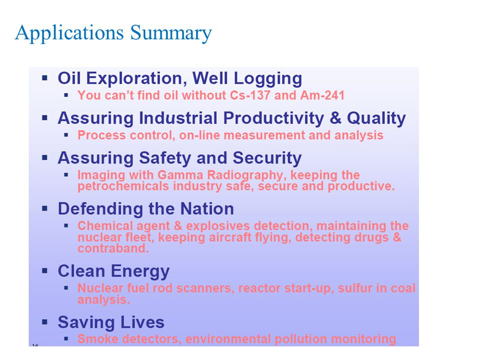 Applications Summary