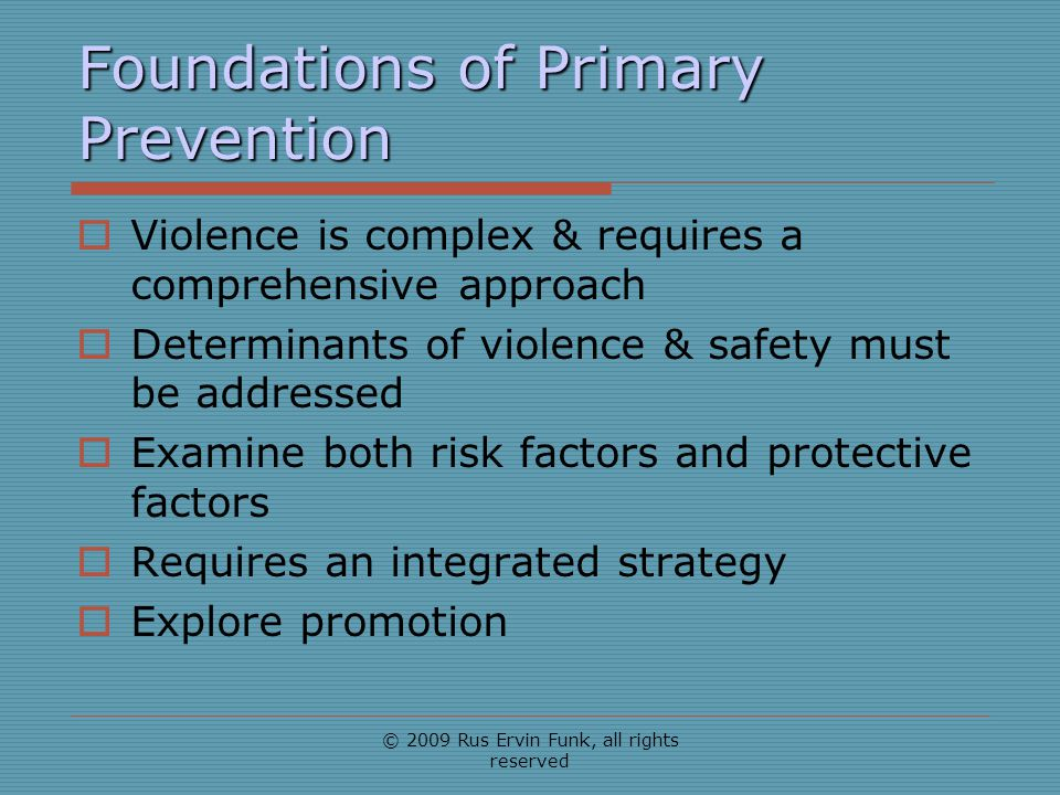 Foundations of Primary Prevention