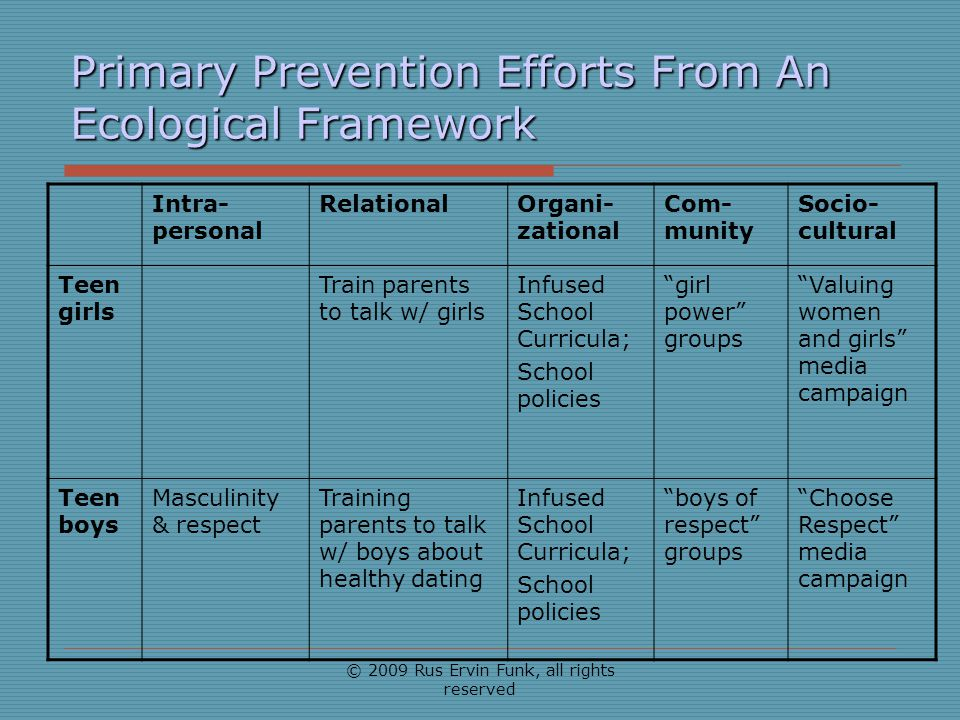 Primary Prevention Efforts From An Ecological Framework