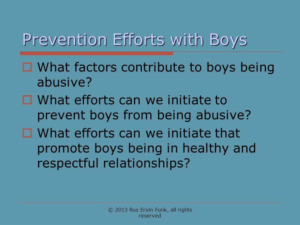 Prevention Efforts with Boys