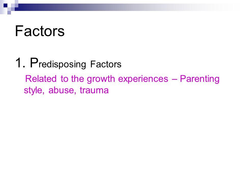 Factors 1. Predisposing Factors