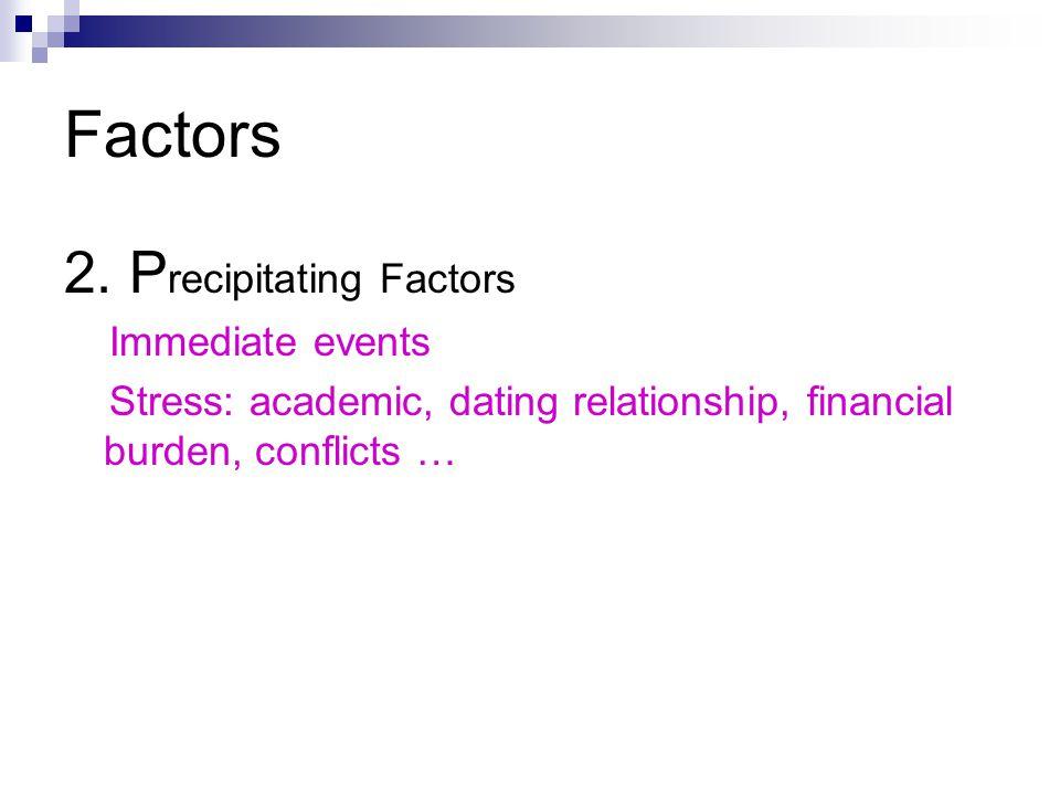 Factors 2. Precipitating Factors Immediate events