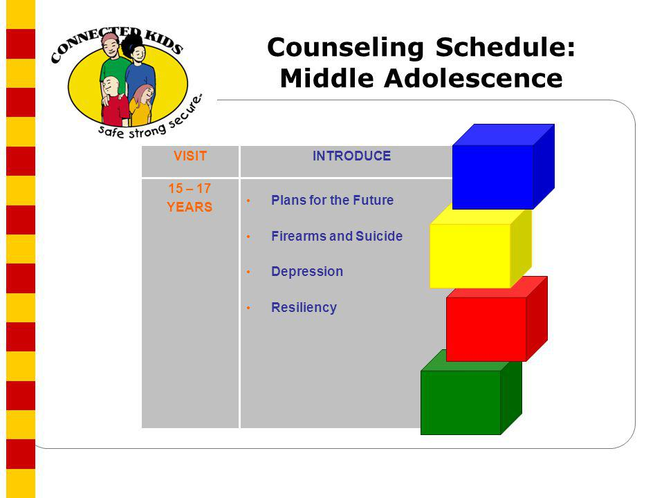 Counseling Schedule: Middle Adolescence