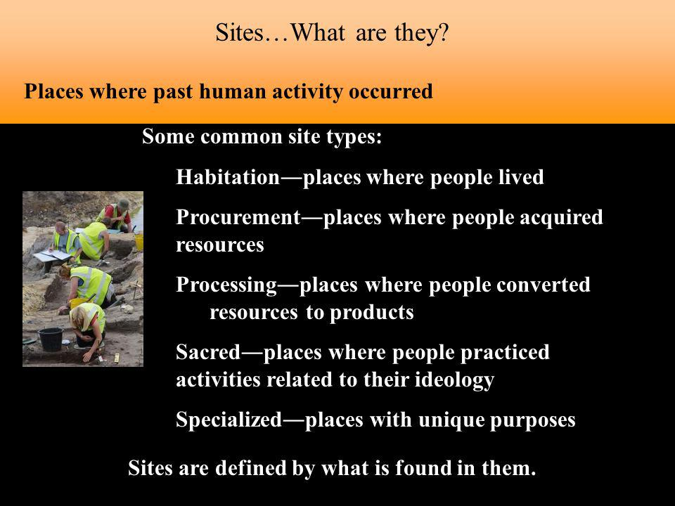 Sites are defined by what is found in them.