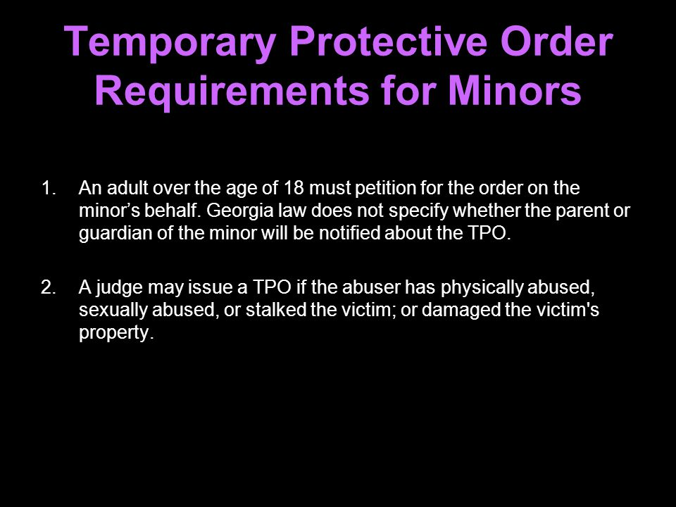 Temporary Protective Order Requirements for Minors