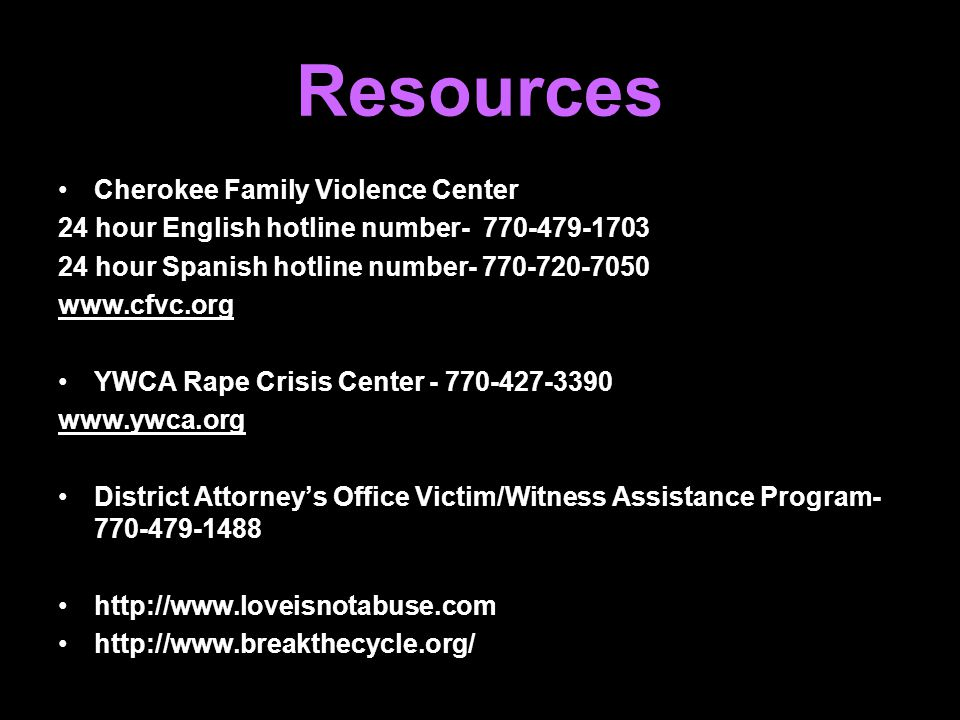 Resources Cherokee Family Violence Center