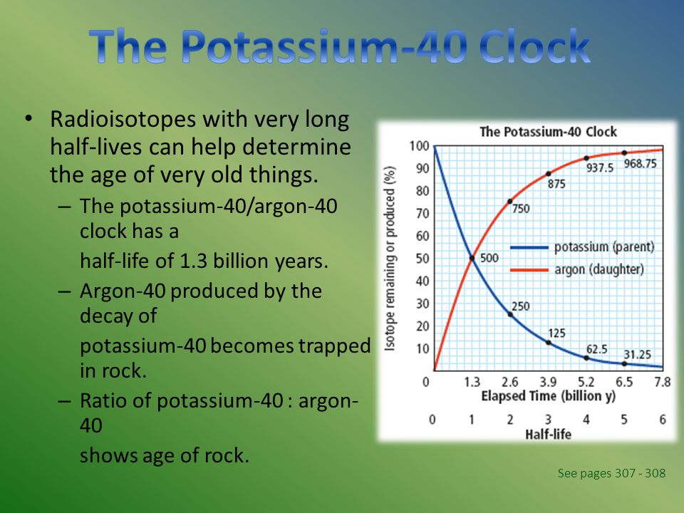 The Potassium-40 Clock Radioisotopes with very long half-lives can help determine the age of very old things.