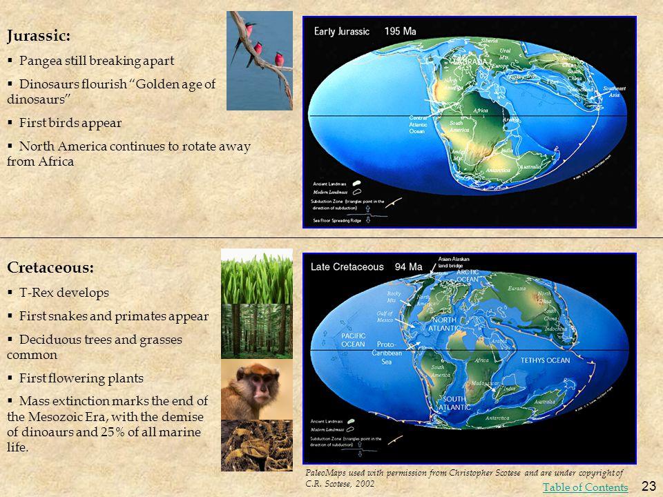 Jurassic: Cretaceous: Pangea still breaking apart