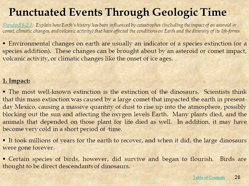 Punctuated Events Through Geologic Time