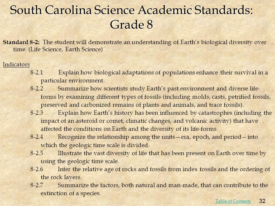 South Carolina Science Academic Standards: Grade 8