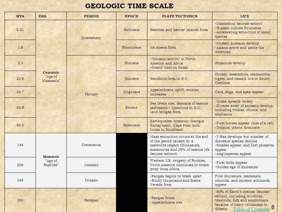 GEOLOGIC TIME SCALE Table of Contents MYA ERA PERIOD EPOCH