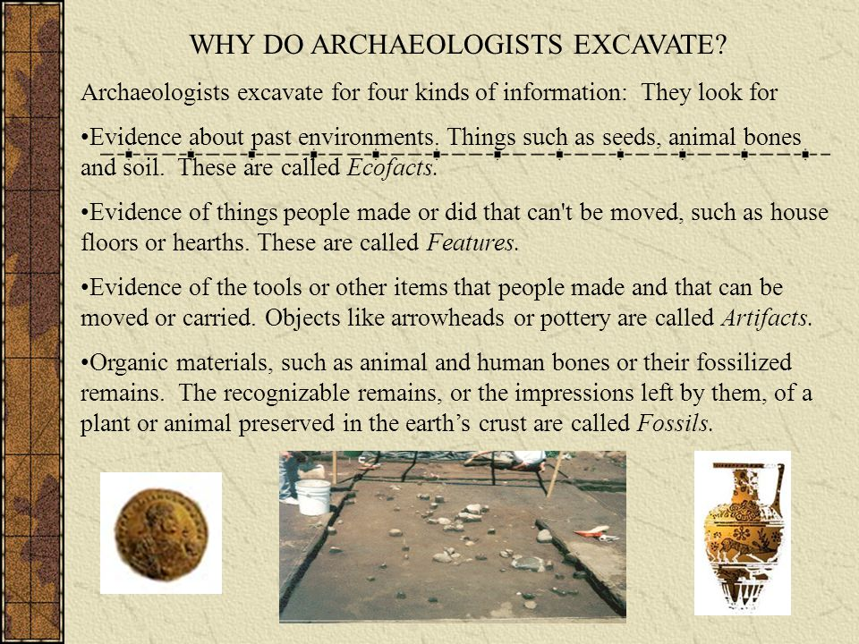 WHY DO ARCHAEOLOGISTS EXCAVATE