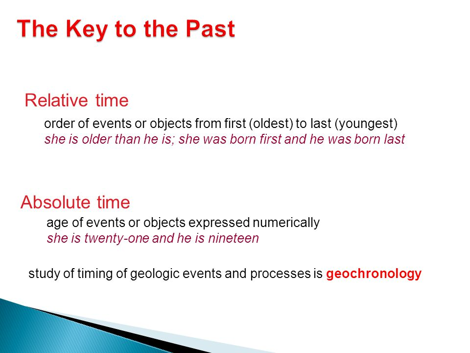The Key to the Past Relative time Absolute time