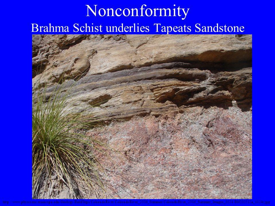 Nonconformity Brahma Schist underlies Tapeats Sandstone