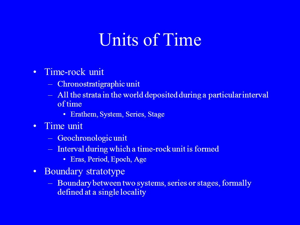 Units of Time Time-rock unit Time unit Boundary stratotype