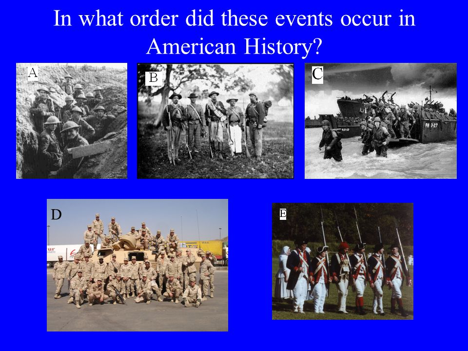 In what order did these events occur in American History