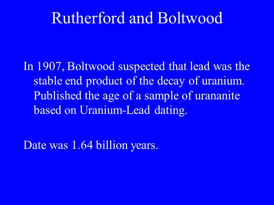 Rutherford and Boltwood