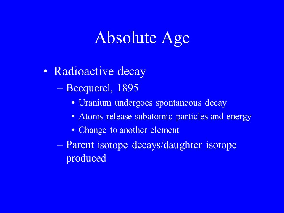 Absolute Age Radioactive decay Becquerel, 1895