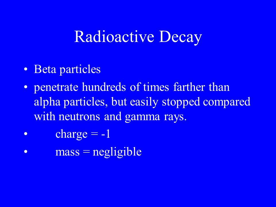 Radioactive Decay Beta particles