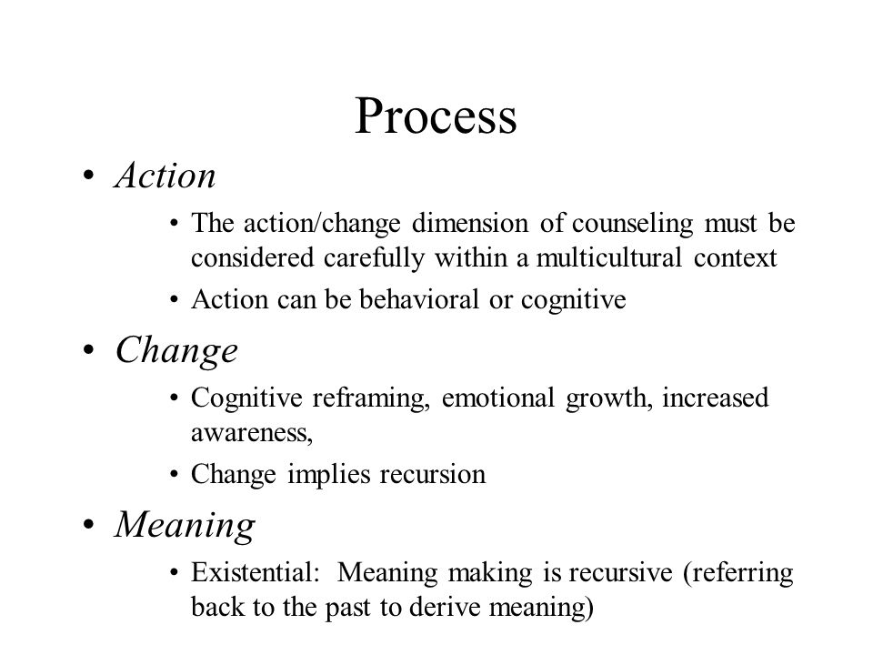 Process Action Change Meaning