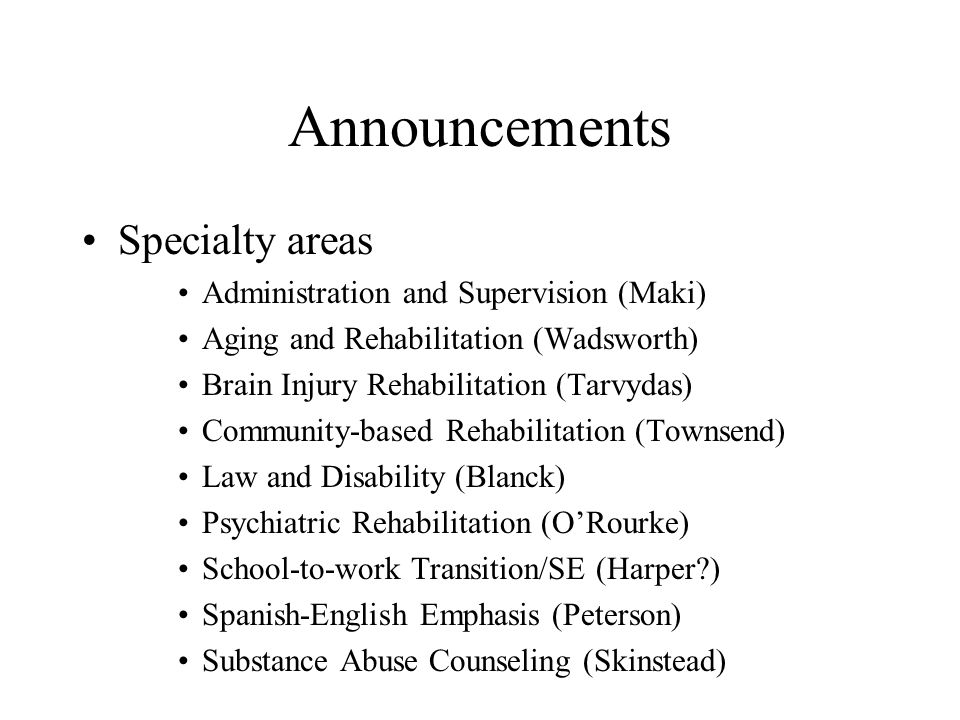 Announcements Specialty areas Administration and Supervision (Maki)