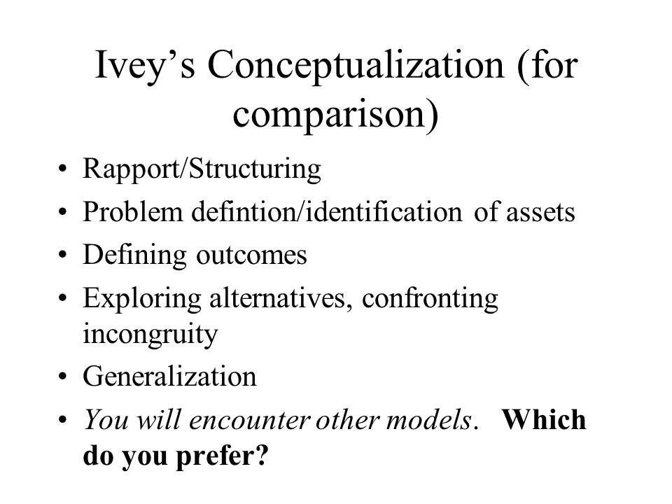 Ivey's Conceptualization (for comparison)