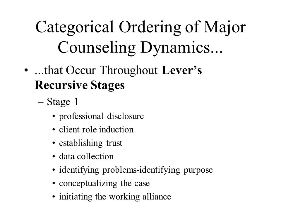 Categorical Ordering of Major Counseling Dynamics...