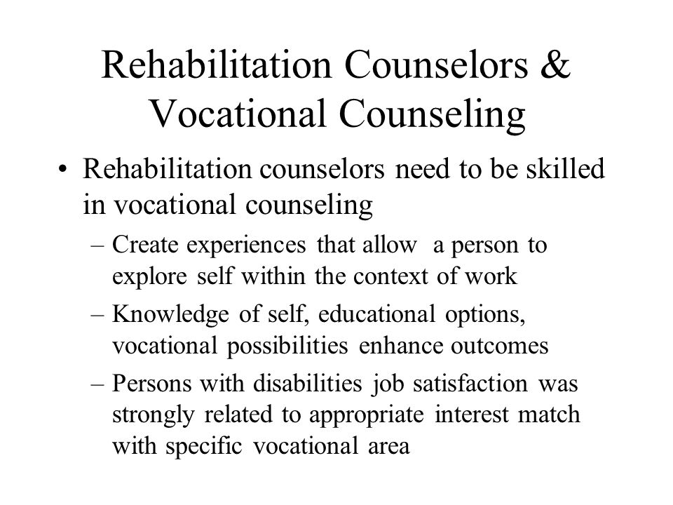 Rehabilitation Counselors & Vocational Counseling