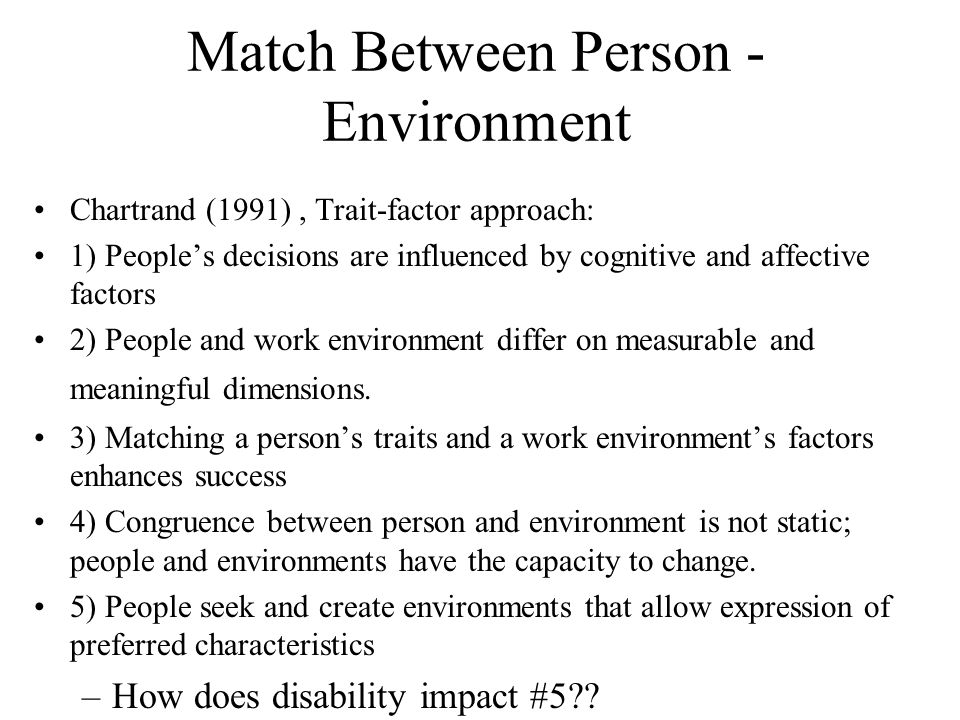 Match Between Person - Environment