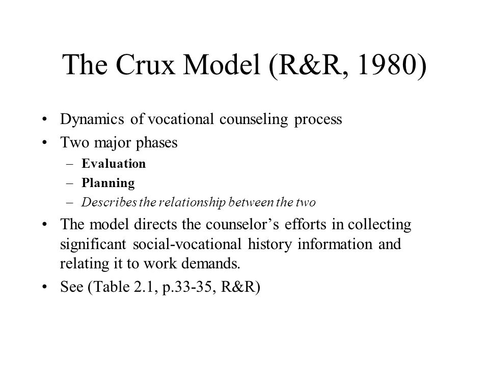 The Crux Model (R&R, 1980) Dynamics of vocational counseling process