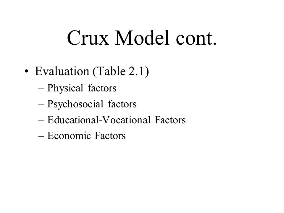 Crux Model cont. Evaluation (Table 2.1) Physical factors