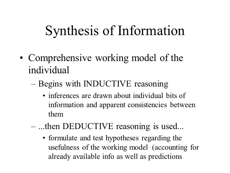 Synthesis of Information
