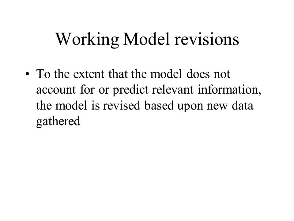 Working Model revisions