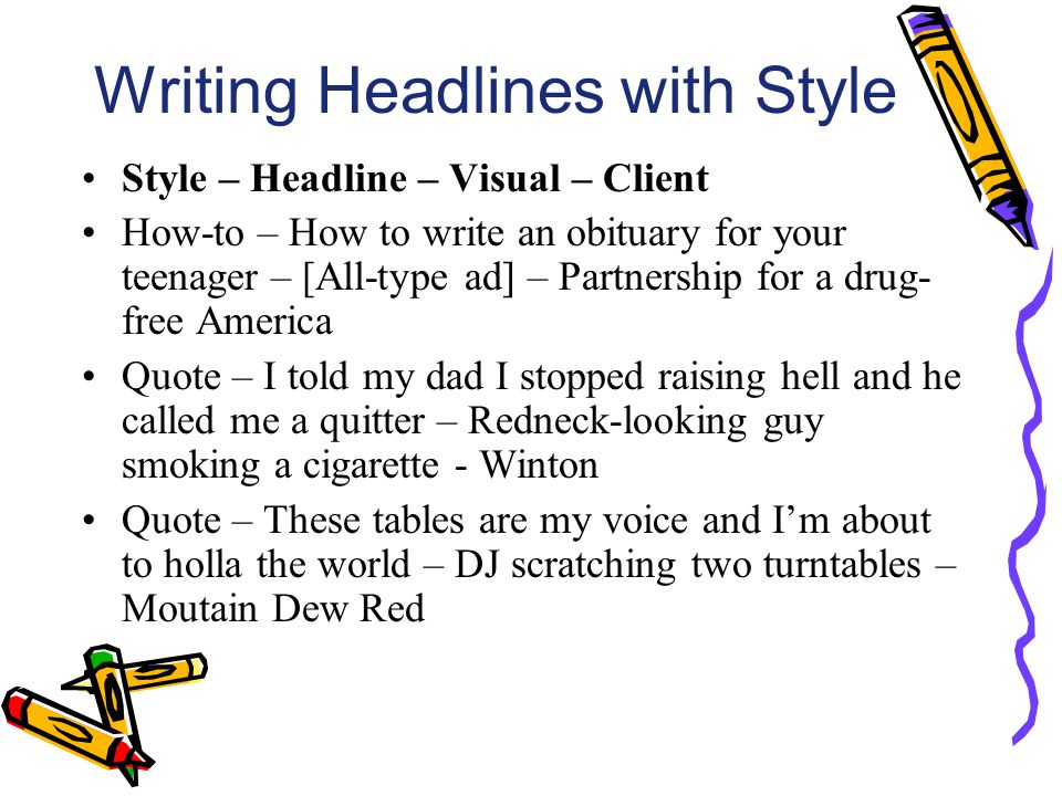 Writing Headlines with Style