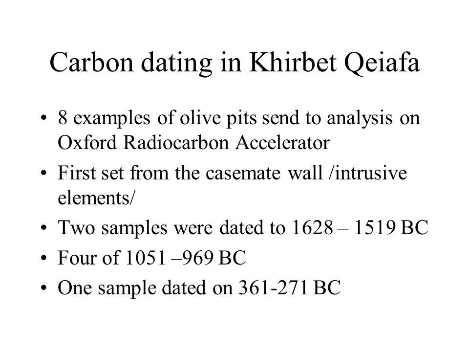 Carbon dating in Khirbet Qeiafa