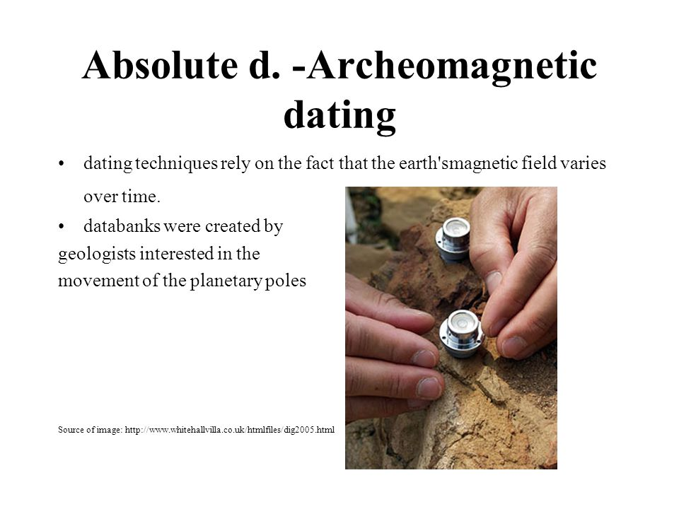 Absolute d. -Archeomagnetic dating