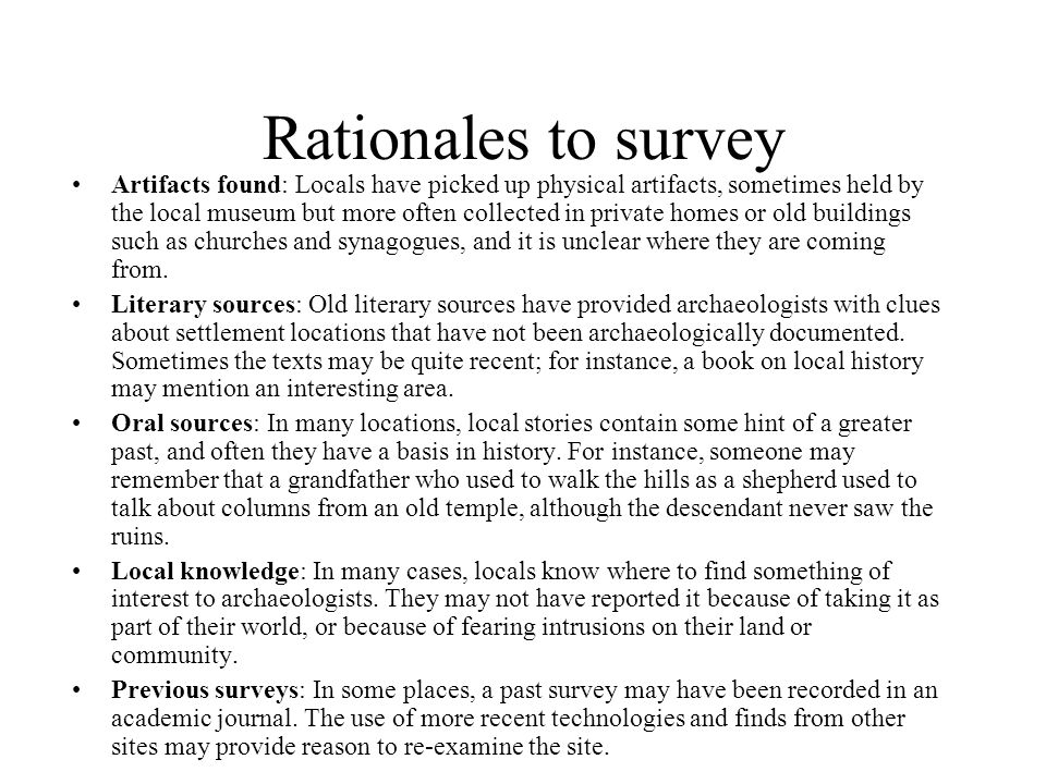 Rationales to survey