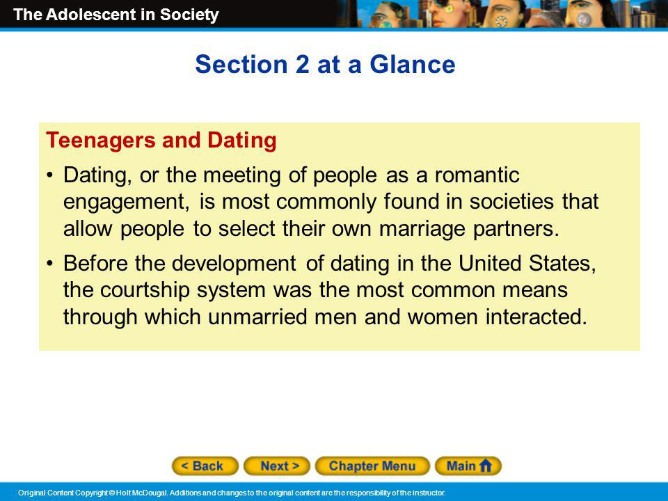 Section 2 at a Glance Teenagers and Dating