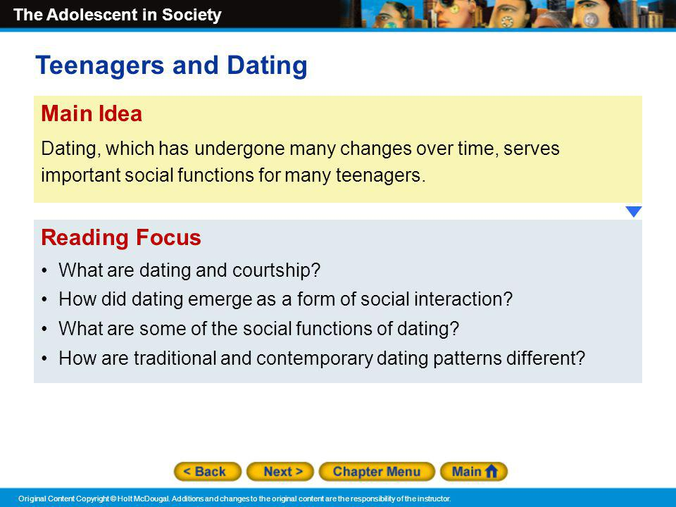 Teenagers and Dating Main Idea Reading Focus