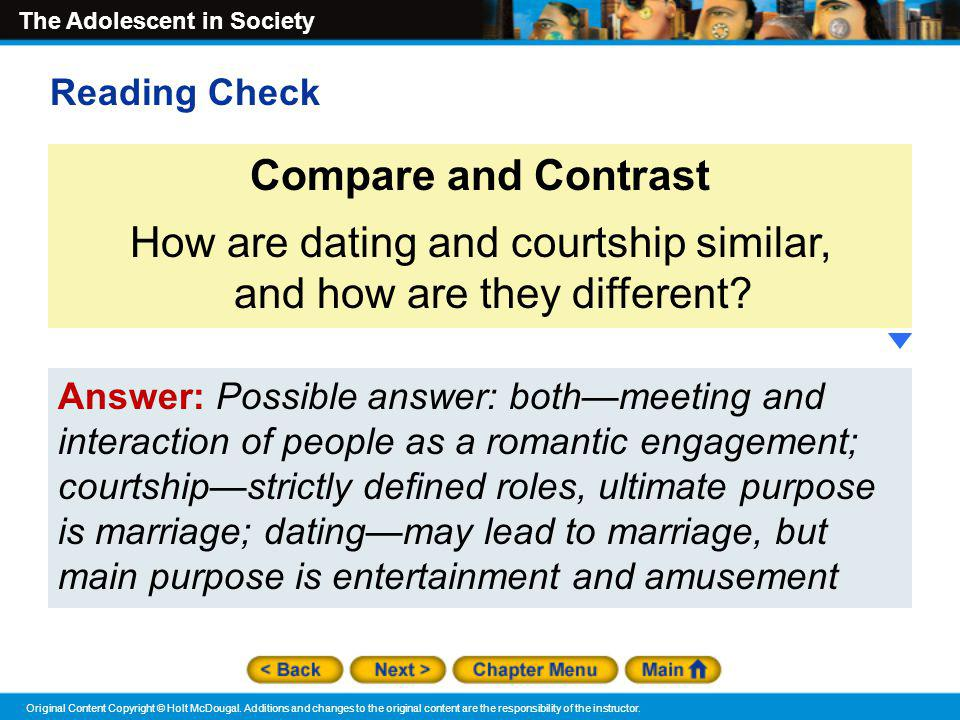 How are dating and courtship similar, and how are they different