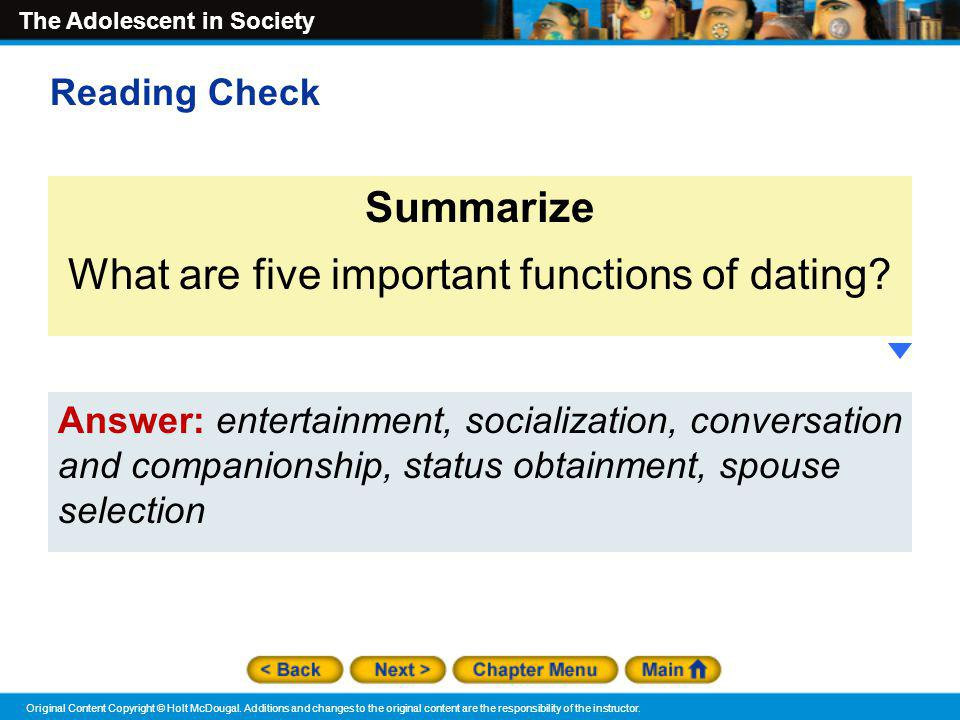 What are five important functions of dating