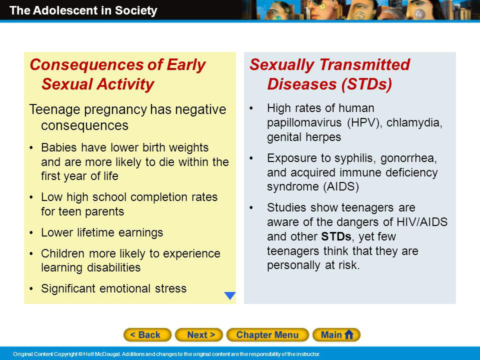 Consequences of Early Sexual Activity